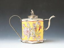 Old Chinese handwork inlay Dragon&phoenix butterfly  flower porcelain teapot N