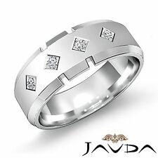 4 Kite Shape Princess Diamond Mens Half Wedding Band 14k White Gold Ring 0.20Ct
