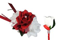 2pc Set - Wrist Corsage and Boutonniere Apple Red and White Roses (BCset-39)