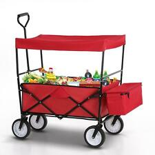 Foldable Folding Collapsible Utility Wagon Garden Shopping Cart with Canopy W7P8