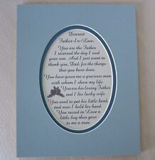 FATHER IN LAW Dad GRACIOUS MAN Thank U (frm Daughter In Law) verses poem plaques