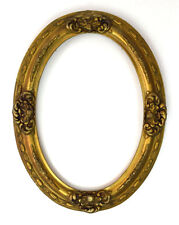 Antique Ornate High Relief Carved Wood Floral Oval Art Frame All Picture Paint