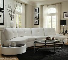Sectional Sofa Living Room Furniture White Bonded Leather Built in Side Table