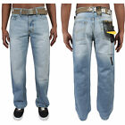 BNWT New Men's Loose Fit Bootcut Branded Light Wash Jeans Waist Size 28-42 FBM20