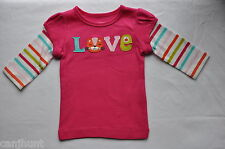 "NWT CARTERS GIRLS 3 MONTHS LONG SLEEVE COTTON TOP SHIRT ""LOVE"" ON IT"