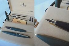 FENDI PER STRODER SET PENNA STILOGRAFICA &SFERA RESINA VERDE FOUNTAIN & BALL PEN