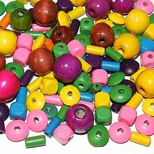 W669 Assorted Bright Mixed Size & Shape (5-20mm) Wood Beads 1oz Package
