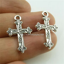 13993*40PCS Alloy Vintage Silver Tone Mini Flower Cross Pendant Charms