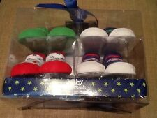 BABY ESSENTIALS Infant Boys  PACK Of 4 Sports Theme Sock Booties - 0-6 Mos NEW
