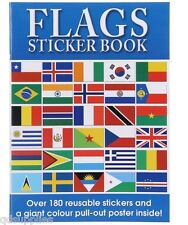 FLAGS STICKER BOOK WITH REUSABLE STICKERS & PULL OUT POSTER WORLD INFO & MAPS