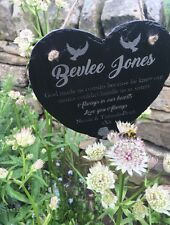 Personalised Engraved Slate Hanging Memorial Heart Headstone Grave maker Plaque