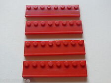 Lego 4 glissieres rouges 2507 7637 8185  / 4 red plate w/ large door rail