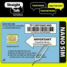 STRAIGHT TALK / AT&T SIM CARD (NANO) Bring Your Own 4G LTE iPhones 5 5s 6 + 6s