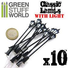 10x Lampioni classiche con luce LED - Diorami treni illuminazione Bolt Action