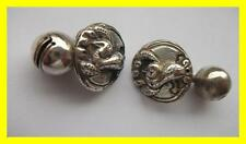 UNUSUAL PAIR C1880 CHINESE SILVER ROBE BELL BUTTONS,COCKEREL DESIGN,CUFF LINKS?