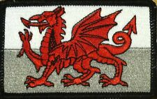 WALES FLAG Embroidered Iron-On PATCH WELSH TACTICAL EMBLEM UK BLACK Border #04