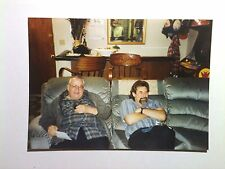 Vintage 90s Photo Christmas Day Father & Son Sitting Couch Arcade Game Machine