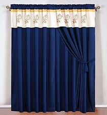 Navy Blue Yellow Off-White Embroidered Curtain set w/attached Valance & Sheers