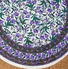 """Handmade French Floral 100% Cotton Tablecloth 72"""" Round Purple and Green"""