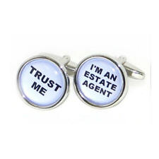 Black & White Trust Me Im An Estate Agent Cufflinks With Gift Pouch Present