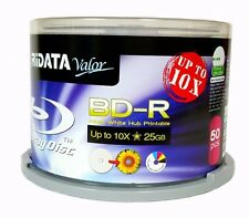 50 RIDATA Valor BluRay Up to 10X Blank BD-R 25GB White Inkjet Hub Printable Disc