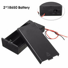 DC HOLDER STORAGE BOX ON/OFF SWITCH WIRE LEADS FOR 3.7V 2X18650 BATTERY GLARING