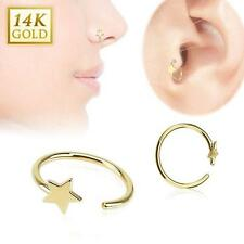 "14KT Solid Yellow Gold Nose Ring Hoop 5/16"" 7.9mm 2.5 Star 22 Gauge 22G"