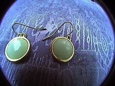 "beautiful pale green and gold tone earings for pierced ears 1/2"" wide circles"