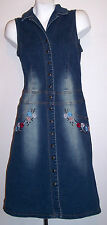 Hot Kiss Dress S Stretch Denim Pearl Snap Embroidered Retro Jeans Women's Small