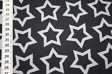 Jersey  Stoff Sterne grau schwarz  1m