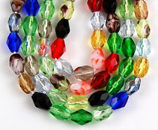 50pcs Czech Mixed Oval Multi-Color Preciosa Fire Polished Faceted Glass Beads