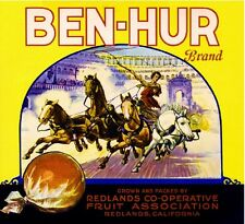 Redlands Ben Hur #2 Roman Empire Chariot Orange Citrus Fruit Crate Label Print