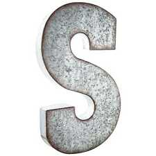 "Large 20"" Silver Galvanized Vintage Metal Letter & Marquee ""S"". Monogram."