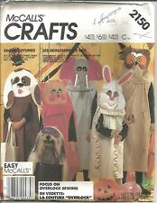 McCall's Crafts ANIMAL COSTUMES Sewing Pattern 2150...Owl, Elephant...UNCUT