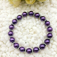 Wholesale fashion jewelry purple 8 mm glass pearl stretch beaded bracelet  DIY