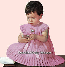 Beautiful Vintage KNITTING PATTERN 1950s Lacey Baby Dress or Doll 20 inch Chest