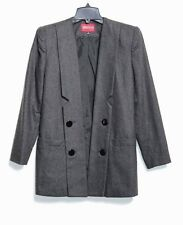 Vintage 80's Sasson - 4 (S) - MINT - Solid Gray Wool Coat - Long Open Jacket