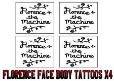 FLORENCE & THE MACHINE fan temporary FACE & BODY TATTOOS X4 easy use LAST 1 WEEK