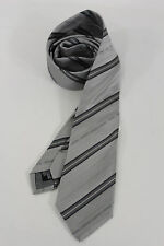 New Authentic Armani Collezioni Men Silk Suit Neck Tie Gray Striped Italy Made