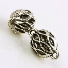 F1695*30Pc Tibetan Silver Craved Striped Ball Connector Charm Link Bead Findings