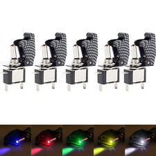 Lot5 12V 20A Car Carbon Fiber LED Toggle Rocker Switch Light Racing 5Color