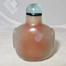 "2.35"" Chinese Carved Gray Agate & Blue Glass Top Snuff Bottle"