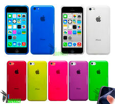 CUSTODIA CASE COVER PER APPLE IPHONE 5C TPU GEL TRASPARENTE MORBIDA + PELLICOLA