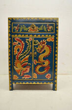 Blue Chinese Wooden Side End Table Chest w/Painted Dragon & Phoenix Jul26-02