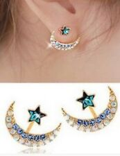 Anthropologie Gold Star And Crescent Moon Crystal Ear Jackets Earrings