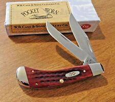 CASE XX New Red Pocket Worn Jigged Bone 2 Blade Small Saddlehorn Knife/Knives