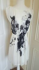 Monsoon dress  size 8 white black Grey  floral roses races evening party wedding
