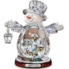 THOMAS KINKADE MOVING & LIGHTED CRYSTAL SNOWMAN CHRISTMAS  HOLIDAY DECOR NEW