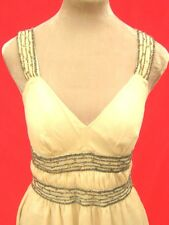Cream Beige Nude Sheer Floaty Embellished Beaded Ditsy party Dress size 10 prom