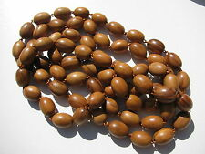 VINTAGE RETRO OBLONG CARVED NATURAL WOOD GRAIN BEADS STRUNG COPPER WIRE NECKLACE
